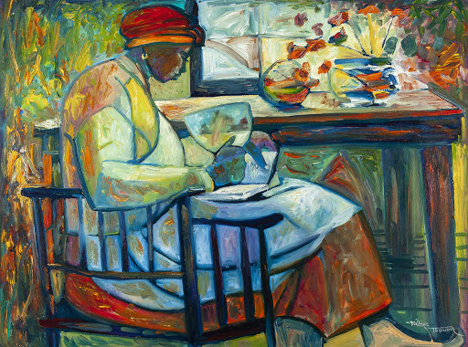 woman reading a bible painting